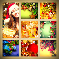 Christmas collage. Beautiful set of New Year celebration images