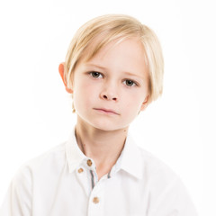 Blond Young Boy Isolated in White SHirt