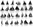 A set of vector silhouettes of yachts - 74451504