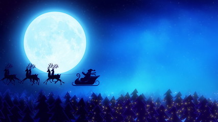 Santa claus flying from forest to the moon
