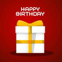 Vector Happy Birthday White Paper Gift Box