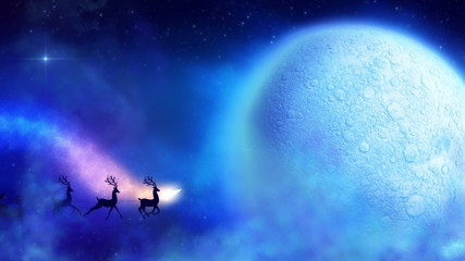 Santa with reindeers flies with colorful comet around moon