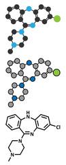 Clozapine atypical antipsychotic drug molecule.