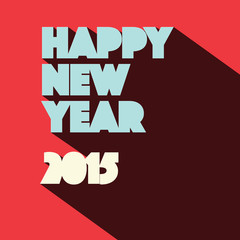 Happy New Year 2015  Retro Illustration