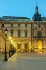 Paris (France). Louvre museum in the sunrise