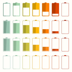 Battery Life Vector Icons Set