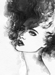 woman portrait  .abstract  watercolor .fashion background