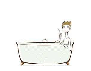 入浴 女性 指差し 吹出し