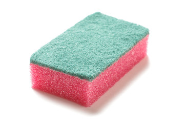 Red green kitchen sponge isolated on the white background