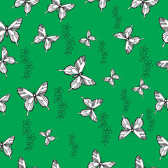 Pattern with butterflies and flowers. not seamless