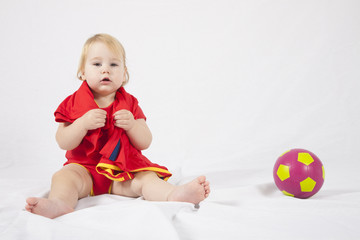 red fan baby with soccer ball
