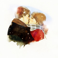 Kiss. Hand painted fashion illustration