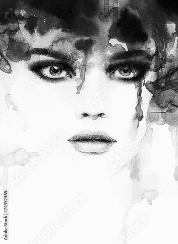 Fototapety, obrazy : woman portrait  .abstract  watercolor .fashion background