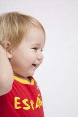 side face baby spanish soccer fan