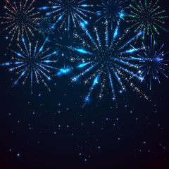 Fireworks on sky background