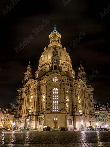 Leinwanddruck Bild Dresdner Frauenkirche bei Nacht