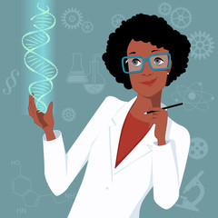 Woman scientist with DNA
