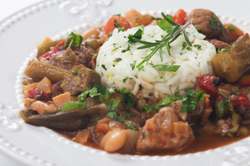 Pork and okra gumbo meal