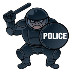 Cop in protective equipment – helmet, shield and nightstick