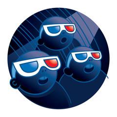 Cinema – people watching a movie in 3D-glasses