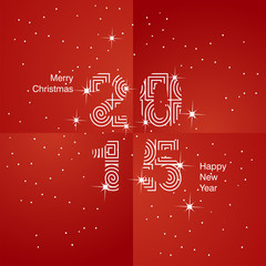White Christmas and 2015 red background