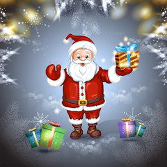 Cute cartoon of a Santa Claus holding a gift box