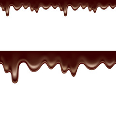 melted chocolate dripping seamless isolated on white background