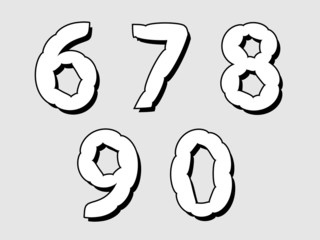 67890 set of numbers with a bloated design