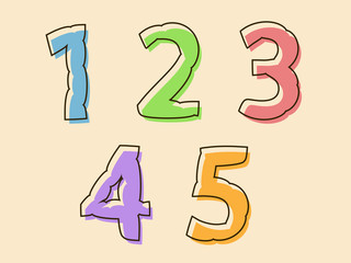 Colorful set of digits 12345 with a bloated shape