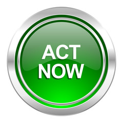 act now icon, green button