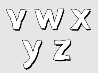 VWXYZ lowercase bloated white alphabet letters