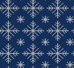 Seamless knit pattern with snowflakes
