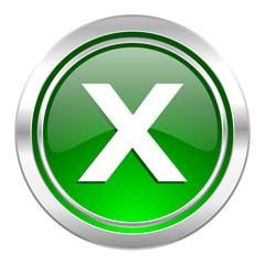 cancel icon, green button