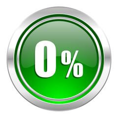 0 percent icon, green button, sale sign