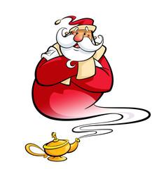 Santa Claus through magic lamp help christmas wishes come true