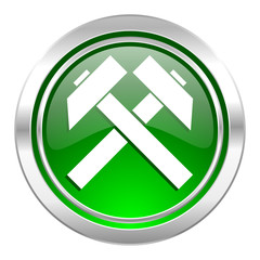 mining icon, green button