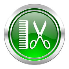barber icon, green button