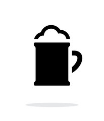Beer mug with foam simple icon on white background.