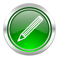 pencil icon, green button