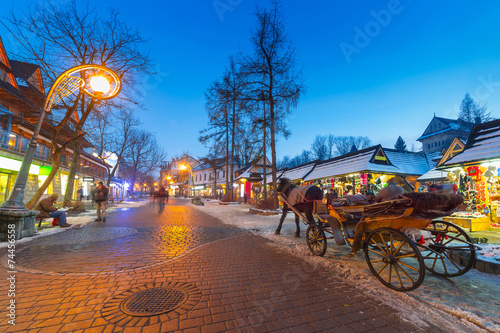 Famous Krupowki street in Zakopane, Poland - 74456558