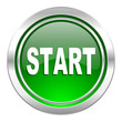 canvas print picture - start icon, green button
