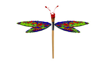 Red green blue paint made dragonfly