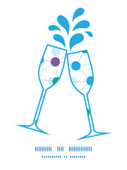Vector connected dots toasting wine glasses silhouettes pattern