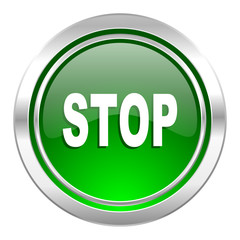 stop icon, green button