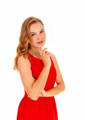 Woman in red dress.
