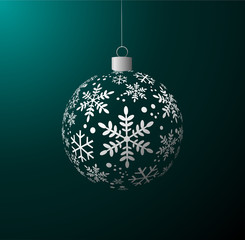 Vector Christmas ball on green background