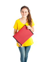 school girl with red folder