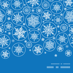 Vector falling snowflakes horizontal frame seamless pattern