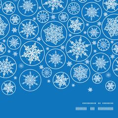Vector falling snowflakes horizontal frame seamless pattern