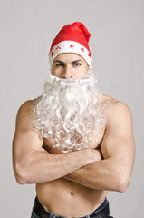 Sexy santa with crossed arms